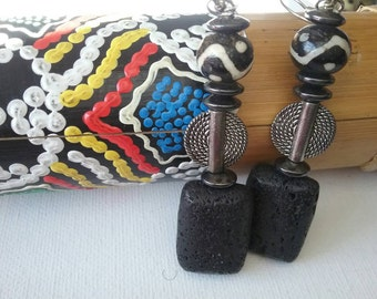 Black and white african tribal mud cloth lava stone earrings