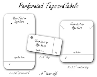 Price Tags, Custom Perforated Price Tags, Perforated Labels, Perforated Jewelry Cards, Custom Earring Cards, Perforated Tags