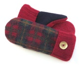 RESERVED FOR COURTNEY-Felted Wool Sweater Mittens Fleece Lined Red Navy and Green Plaid