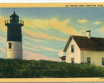 Nauset Light Lighthouse Cape Cod Massachusetts 1955 linen postcard