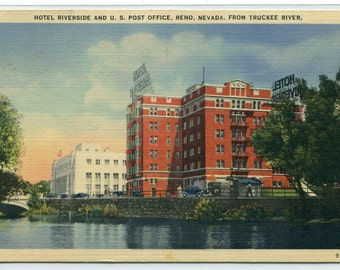 Hotel Riverside Post Office Truckee River Reno Nevada linen postcard