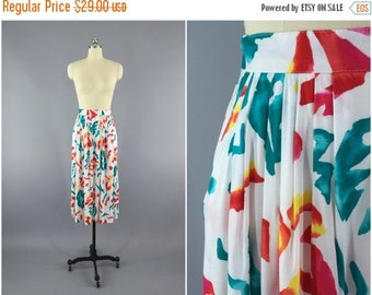 SALE - Vintage 1980s Skirt / 80s Midi Skirt / White Summer Skirt / Abstract Print / California Krush / Size Small S Medium M