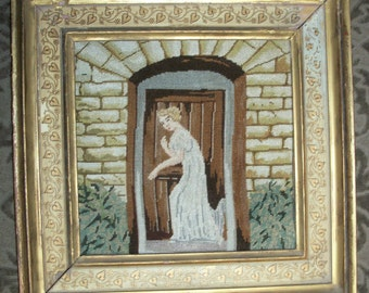 """8"""" x 8"""" Vintage Petit Point Needlepoint Embroidery - Framed - Victorian Lady"""