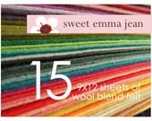 Wool Felt Sheets - Choose Any Fifteen (15) - Wool Blend Felt