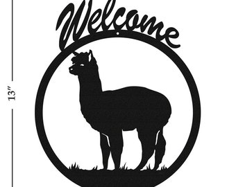 Alpaca Black Metal Welcome Sign
