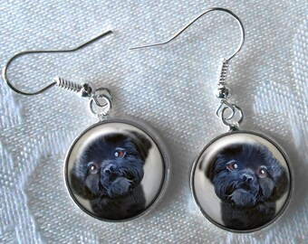 Black Shih Tzu Drop Earrings ~ Girlfriend Gift ~ Pet Keepsake ~ Shih Tzu Jewelry ~ Dog Jewelry