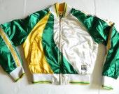 Vintage Women's XS Celtics Green Yellow White Jacket Coat Sports Zip Up Extra Small Basketball