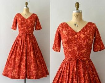 1950s Vintage Dress - 50s Jerry Gilden Red Floral Cotton Dress