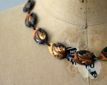 Vintage 1950s Necklace - 50s  Morley Crimi Copper Leaf Necklace