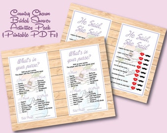 Country Charm Bridal Shower 2 Printables | Activities | Games | PDF | Mason Jars | Watercolor | Rustic | Boho | Bride and Groom