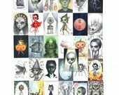 Complete Drawlloween mini print set - 31 ATC Mini Halloween inspired Prints by Mab Graves - unframed - open edition