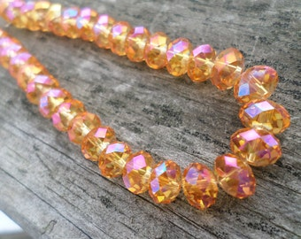 Saffron Yellow Faceted Crystal Rondelle Beads 6x4mm