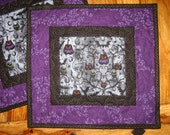 Halloween Owls Pumpkins Cats Spiders Quilted Mug Rugs, Black and Purple, Reversible Table Mats, Orange Pumpkins, Halloween Decor, Handmade