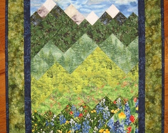 Blue and Yellow Flowers and Mountains Art Quilt Fabric Wall Hanging Quilted Wall Hanging Landscape Quilt, Textile Art, Lake Tahoe, Handmade