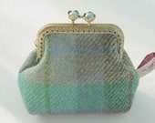 RESERVED NEW Bronze metal frame coin purse/ pale blue pearls / Check blue green grey Harris tweed/ Liberty tana lawn