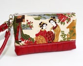 Reserved Listing for Eriko - Wristlet with Traditional Japanese Ladies and Red Leather Bottom and Strap