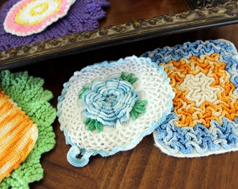 6 Crocheted Potholders, Oven Mitts, Heat Pads, Vintage Kitchen Linens, Colorful Crochet 13336