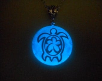 Glow in the Dark Sea Turtle Full Moon Totem Necklace Pendant or Keychain