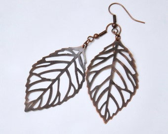 Large Filigree Leaf Earrings, Antique Copper Leaf Earrings, Nature Inspired Jewelry, Boho Bohemian Earrings, Bridesmaid Gift, Leaf Jewelry