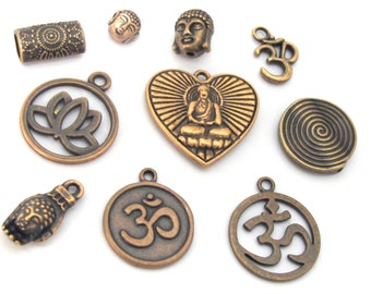 10 charms set -  Antiqued copper tone Buddha om charm beads collection set - nepalbeadshop jewelry supplies - CM183