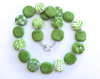 Ceramic Jewelry, Kazuri Bead Necklace, Statement Necklace, Green and White Necklace