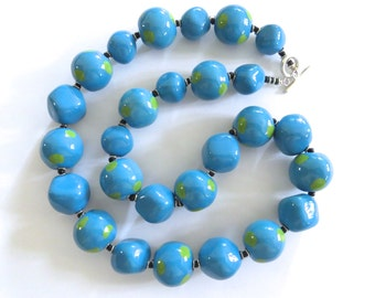Kazuri Necklace, Fair Trade Beads, Ceramic Necklace, Turquoise and Green Necklace