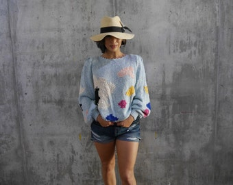 Cartoon Sunny Day Handknit Sweater
