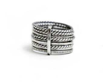 Tied Silver Rings - size 7