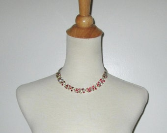 Vintage 1950s Necklace/50s Rhinestone Necklace/50 Red Rhinestone Choker Necklace By Lisner