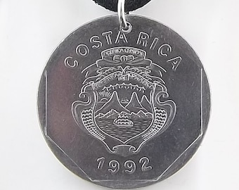 1992 Costa Rica Coin Necklace, 10 Colons, Coin Pendant, Mens Necklace, Womens Necklace, Vintage