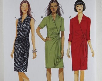 Butterick 5862, Misses' Dress Sewing Pattern, Mock Wrap Dress Pattern, Pullover Dress Pattern, Misses' Pattern, Size 8 to 16, Uncut