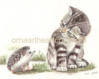 Kitten and Hedgehog Are Making Acquaintance, Childrens Room Decor
