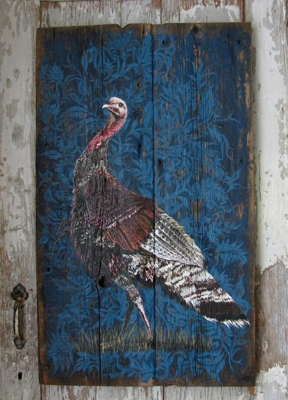 Wild Turkey original acrylic painting on reporosed vintage wood board