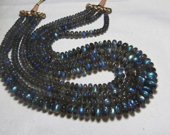 835 Ctw - 20 Inches - Necklace - 4 STRAND  AAAAAAA - High Quality LABRADORITE Smooth Polished Roundel Beads Full Flash Fire size - 6 - 11 mm