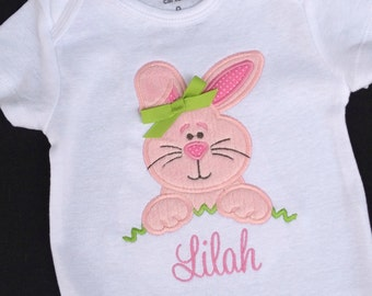 Girls' Personalized Fuzzy Easter Bunny T Shirt or  Bodysuit