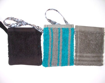 Terry Cloth Soap Holder,Your Choice of Blue & Grey Striped,Grey,Black Soapie,Soap On A Rope,Kids Soap Cloth,Makeup Remover Cloth,Reuseable