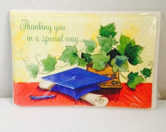 Vintage Graduation Thank You Cards Set of 8, New & Sealed with Verse Inside