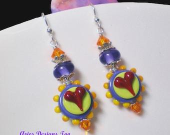 Colorful Funky Heart Earrings in Red,Lime Green,Purple and Orange, South Western Funky Heart Earrings