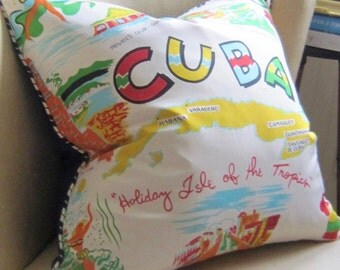 CUBA Vintage Silk Pillow Cover Blue Ticking Piping and Back 20 x 20 Pillow Chic! Made in USA