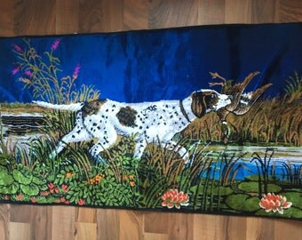 Dog with Duck tapestry or Rug
