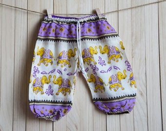 Kid's Yellow Purple White Elephant Printed Cotton Pants /Gypsy Pants/Aladdin Pants/Genie Pants/Yoga Pants /Thai Pants Size-S
