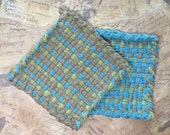 Woven Potholders -Cotton Potholders - Turquoise Olive and Brown Hot Pad - David's Potholders - Cotton Trivet - Handmade  -A- Set of 2