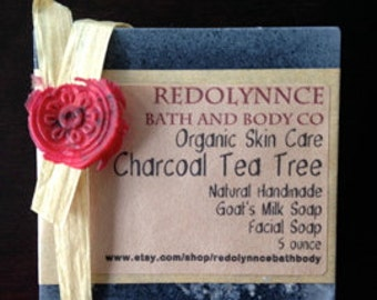 Tea Tree Charcoal--Organic Goat's Milk Soap made with Essential Oil..Clear pores with Charcoal