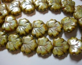 10 beads - Mint Green Picasso Czech Glass Maple Leaf Beads 11x12mm