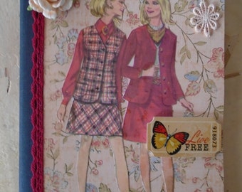 Vintage Inspired Live Free Journal Altered Composition Book