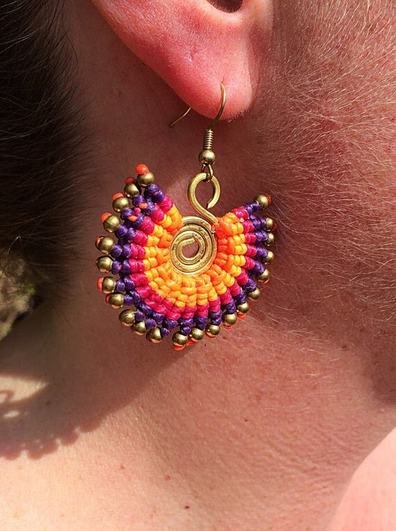 Handcrafted Neon Summer Brass Beaded Waxed Cotton Spiral Ethnic Bohemian Earrings
