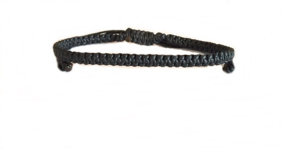 Skinny Black Wax Cotton Wristband Made In Thailand