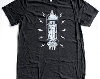 Vacuum Tube T Shirt UNISEX/MENS  -  Available in S M L XL and four shirt colors -  guitar amp music