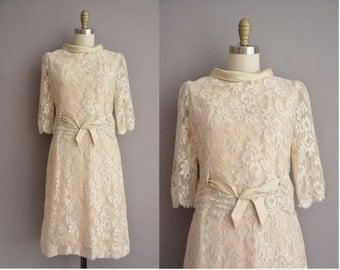 60s ivory scallop lace silk vintage party dress / vintage 1960s dress