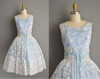 50s ice blue lace vintage cupcake dress / vintage 1950s dress